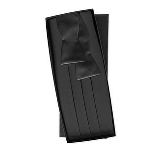 Black Silk Tie Yourself Bow Tie and Cummerbund
