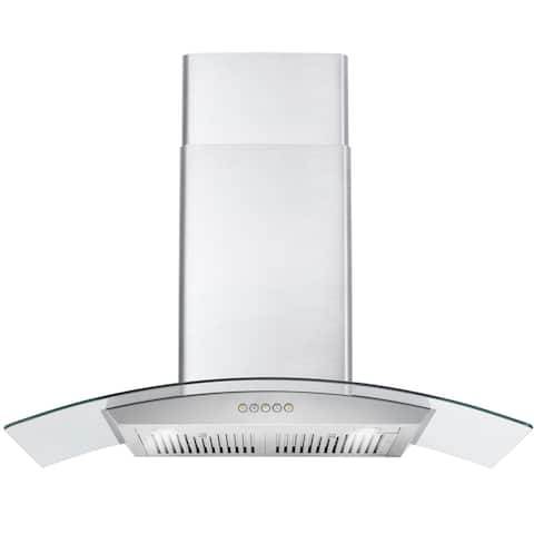 Wall Mount Range Hood in Stainless Steel with Glass Hood, Permanent Filters