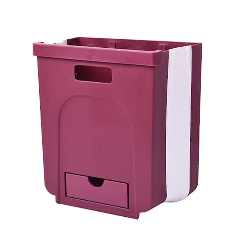 Shop LC Purple 10L Foldable Hanging Waste Bin Easy To Place Dustbin - 10.24x9.45x3.94 inches