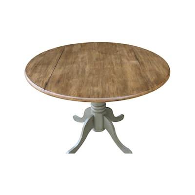 Round Pedestal Base 42-inch Drop-leaf Table