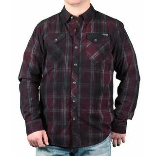 MO7 Men's Garment Dyed Plaid Long Sleeve Woven Shirt