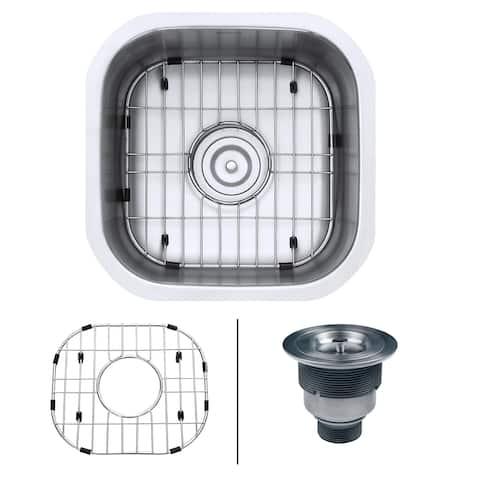 "Ruvati RVM4138 Parmi 16"" Undermount Single Basin 16 Gauge Stainless Steel Kitchen Sink with Basin Rack and Basket Strainer -"