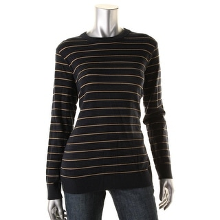 DKNY Womens Crewneck Sweater Striped Pullover