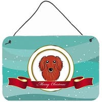 Longhair Red Dachshund Merry Christmas Wall and Door Hanging Prints