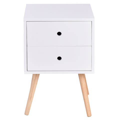 Costway White Side End Table Nightstand w/ 2 Drawers Mid-Century