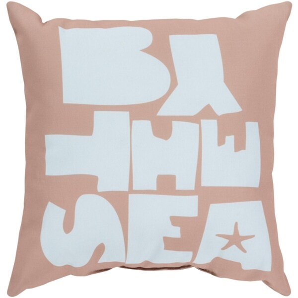 "26"" Cloud Blue and Khaki Brown ""BY THE SEA"" Square Pillow Shell"