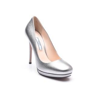 Prada Women's Metallic Saffiano Pumps Silver