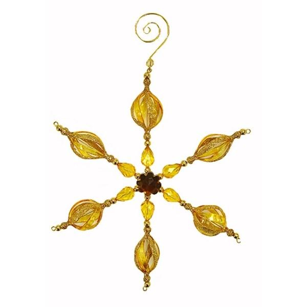Amber Glitter & Gem Beaded Snowflake Christmas Ornament