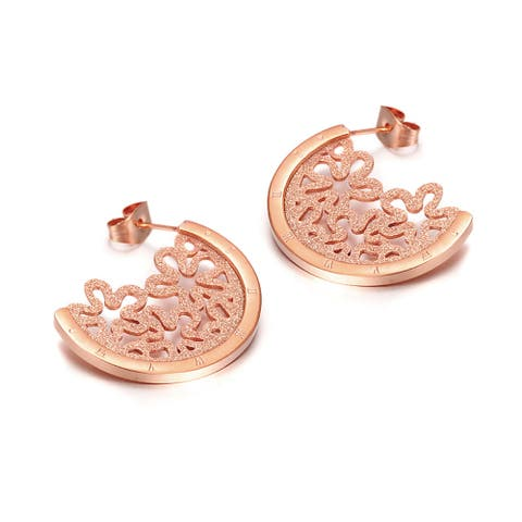 Rose Gold Plated Crescent Of Flowers Half Hoop Earrings