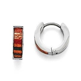 Chisel Stainless Steel Polished Dark Green/Red/Orange Enameled Hinged Hoop Earrings