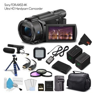 Sony FDR-AX53 4K Ultra HD Handycam Camcorder (Intl Model). Extra Battery with Charger + 64GB Memory Card + Tripod + Light Bundle