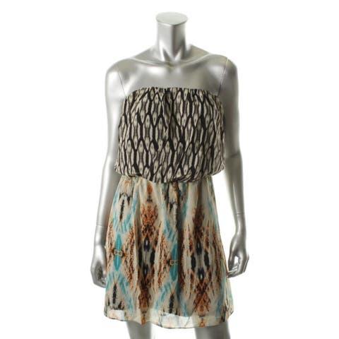 Guess Womens Casual Dress Chiffon Strapless - Nomad Multi