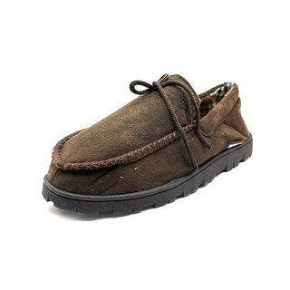 Muk Luks Faux Suede Moccasins Men Moc Toe Synthetic Brown Slipper