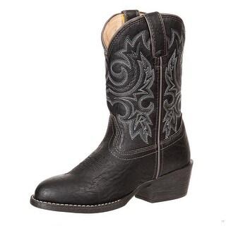 "Durango Western Boots Boys 8"" Round Toe Fancy Stitch Black"