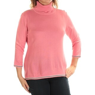 TOMMY HILFIGER $59 Womens New 1526 Pink Turtle Neck 3/4 Sleeve Casual Top L B+B