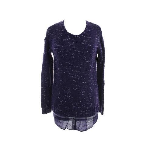 Kensie Midnight Purple Long-Sleeve Nep-Knit Layered-Look Sweater M