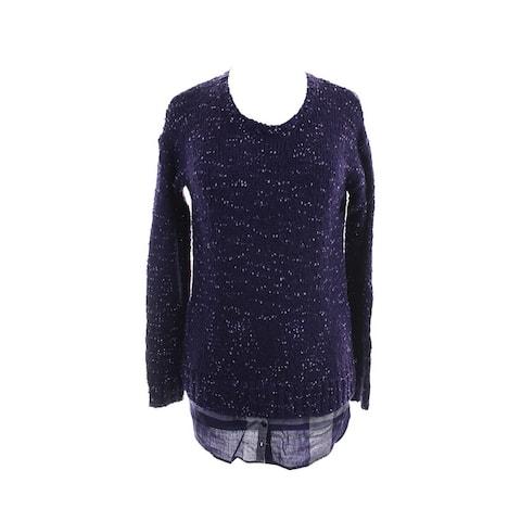 Kensie Purple Combo Long-Sleeve Nep-Knit Layered-Look Sweater M