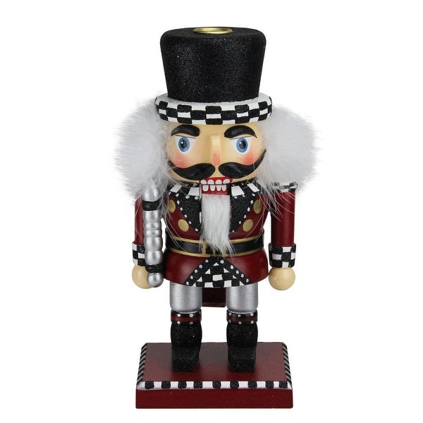 "10"" White, Red and Black Checkered Top Hat Christmas Nutcracker Tapered Candle Holder"