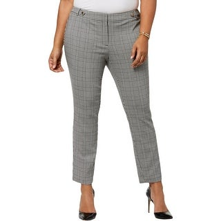 Calvin Klein Womens Plus Dress Pants Houndstooth Professional