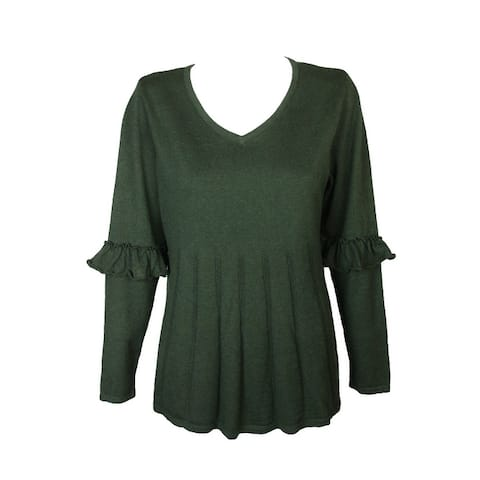 Style Co Plus Size Olive Green Ruffled-Sleeve Pleat V-Neck Long Sleeve Sweater 0X