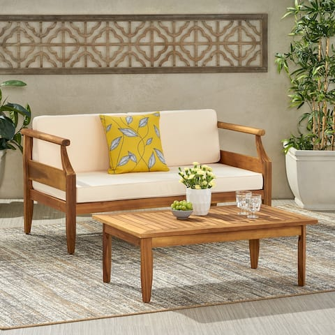 Aston Acacia Wood Outdoor Loveseat Set by Christopher Knight Home