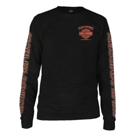Harley-Davidson Men's Eagle Piston Long Sleeve Crew Shirt, Black 30299947