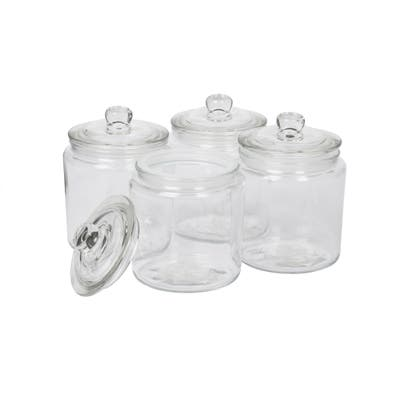 Mason Craft & More Apothecary Clear Glass Storage Jars w/ Glass Lids - Set of 4 - N/A