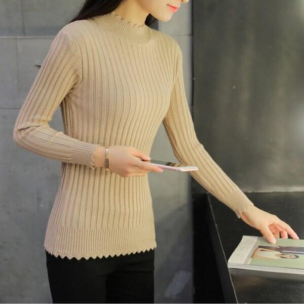 a5c96c72c60 Shop Women'S Sweater Long Sleeve Solid Lightweight Soft Knit Mock ...