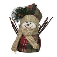 """5.5"""" Brown and Red Plaid Snowman with Hat and Scarf Table Top Christmas Figure"""