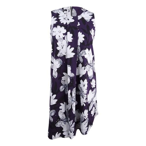 8e6cef74e0 Shop Alfani Women's Plus Size Floral-Print A-Line Dress - Plum Watercolor -  On Sale - Free Shipping Today - Overstock - 25666469