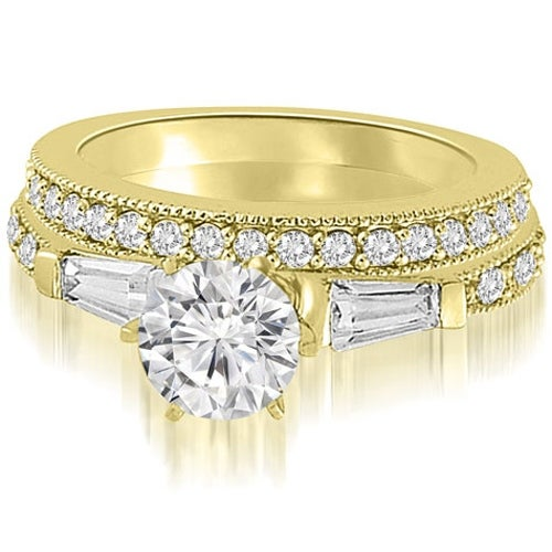 1.45 cttw. 14K Yellow Gold Round And Baguette Cut Diamond Bridal Set