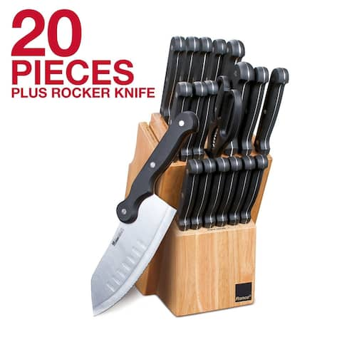 Ronco 20 Piece Knife Set with Knife Block, Full-Tang Handle, Kitchen Knife Set