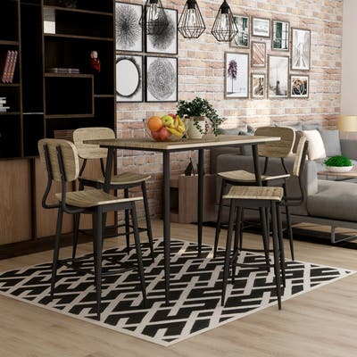 Furniture of America Cairo Industrial 5-piece Dining Table Set