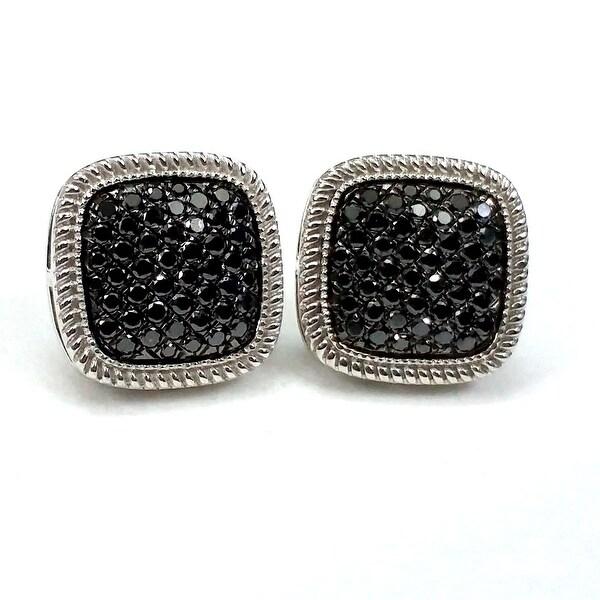 Beautiful Round Brilliant Cut Genuine Black Diamond Screw Back Cluster Earring