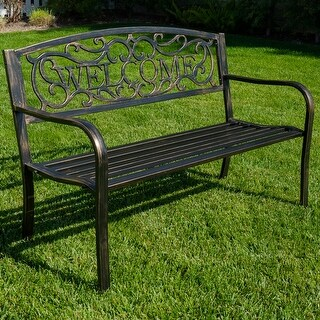 "Belleze 50"" Blossoming Garden Decorative Patio Park Bench, Bronze"