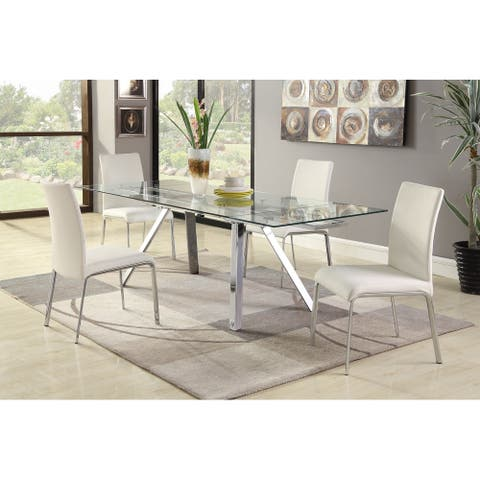 Somette Adriana White Extendable 5-Piece Dining Set