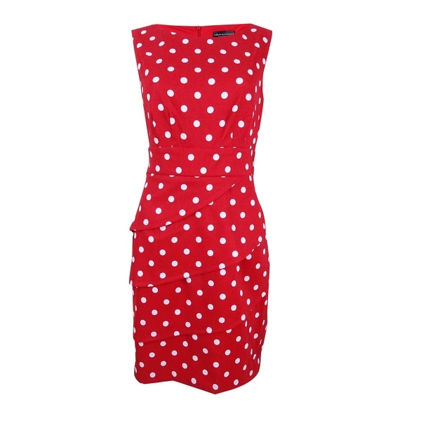 Connected Women's Polka-Dot Tiered Sheath Dress