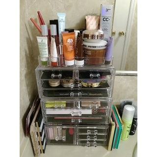 Ikee Design Acrylic Jewelry Makeup Organizer 3 Pcs Set with Drawers