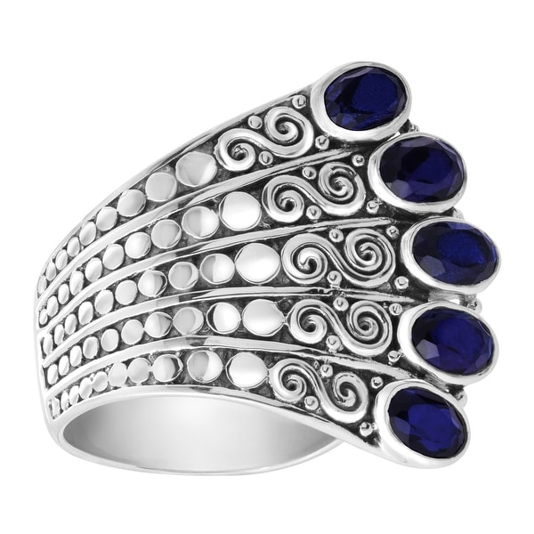 Sajen Natural Midnight Quartz Fan Ring in Sterling Silver - Blue