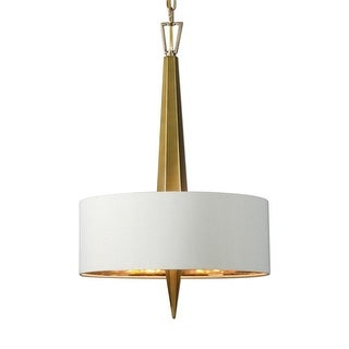 "26"" Gold Ceramic with Beige Hardback Shade 3-Light Hanging Chandelier"