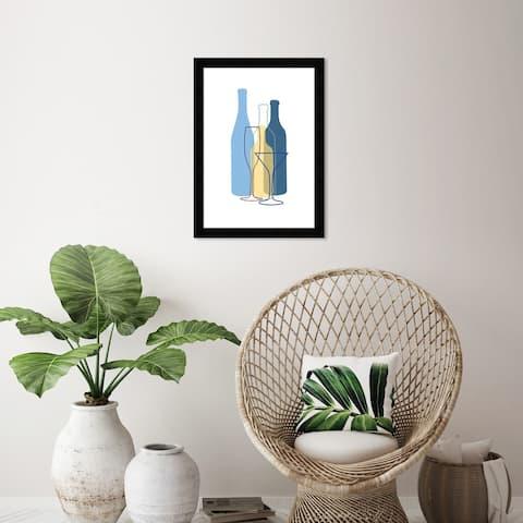 Wynwood Studio 'Blue Bottles' Drinks and Spirits Wall Art Framed Print Wine - Blue, Yellow