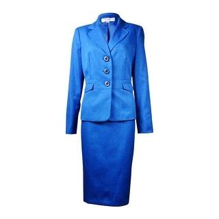 Le Suit NEW Lapis Blue Women's 16 Crosshatch Seamed Skirt Suit Set