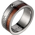 Titanium Wedding Band With Koa Wood with Diamonds Inlay 3mm - Thumbnail 0