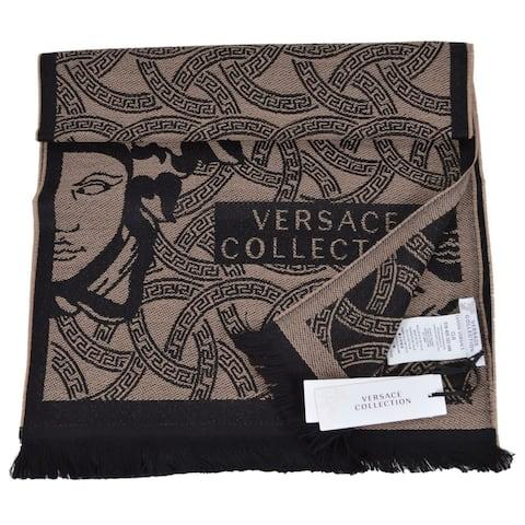 """Versace Collection Tan Brown Wool Blend Medusa Logo Scarf Muffler - 72"""" x 14.5"""""""