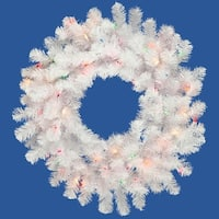 "48"" Pre-Lit Crystal White Artificial Spruce Christmas Wreath - Multi Lights"