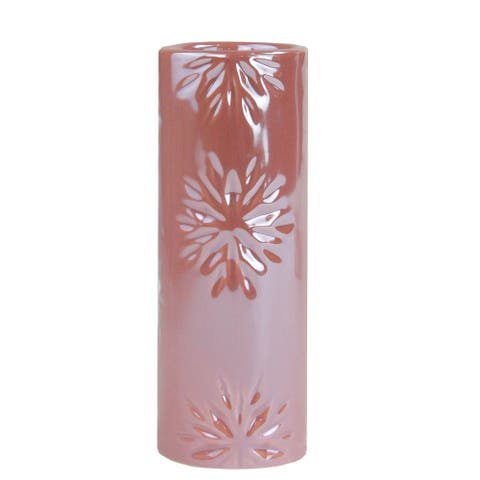 "6.5"" Tall Pearly Pink Snowflake Christmas Candle Holder"