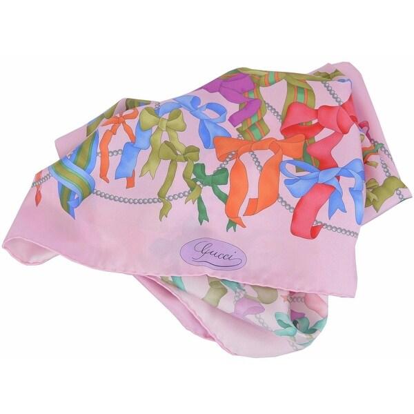 Gucci Women's 352212 Square Silk Pink Multi Pearl & Bow Tie Twill Neck Scarf