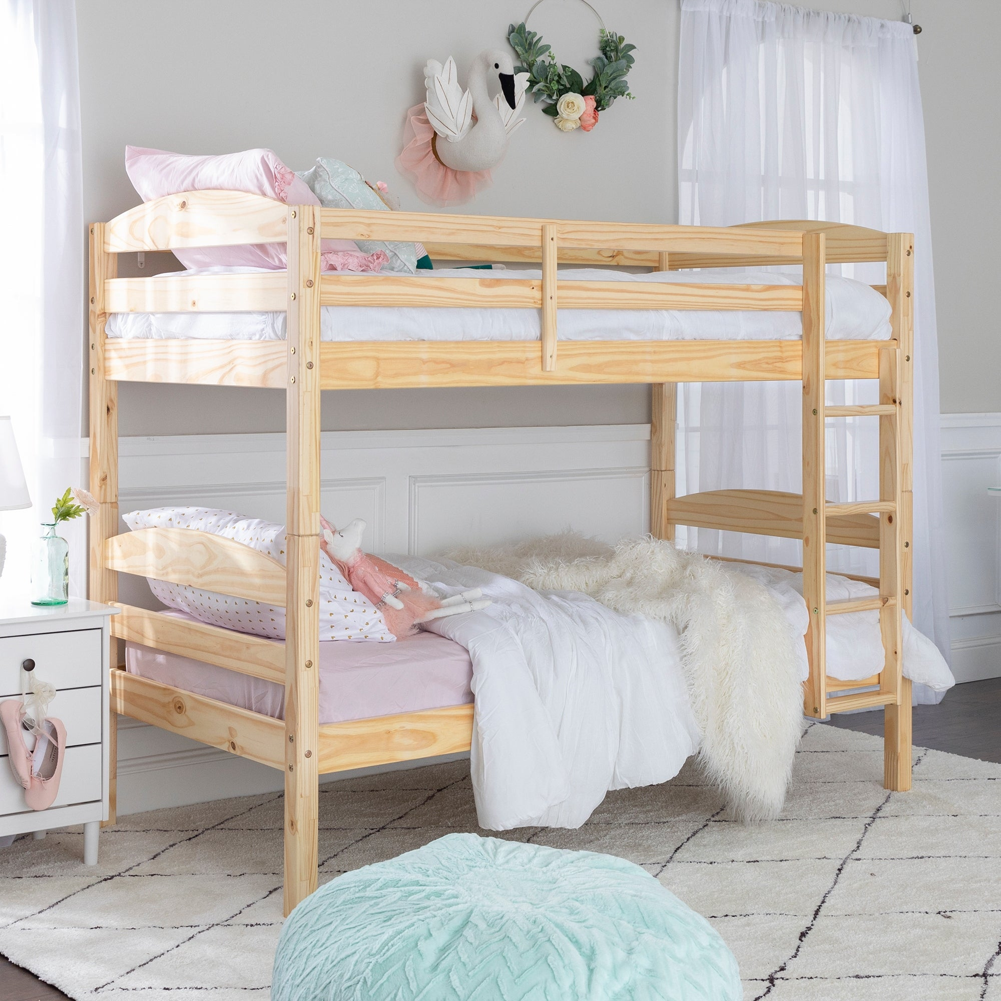 Picture of: Taylor Olive Christian Wood Twin Over Twin Bunk Bed Natural Overstock 6372468