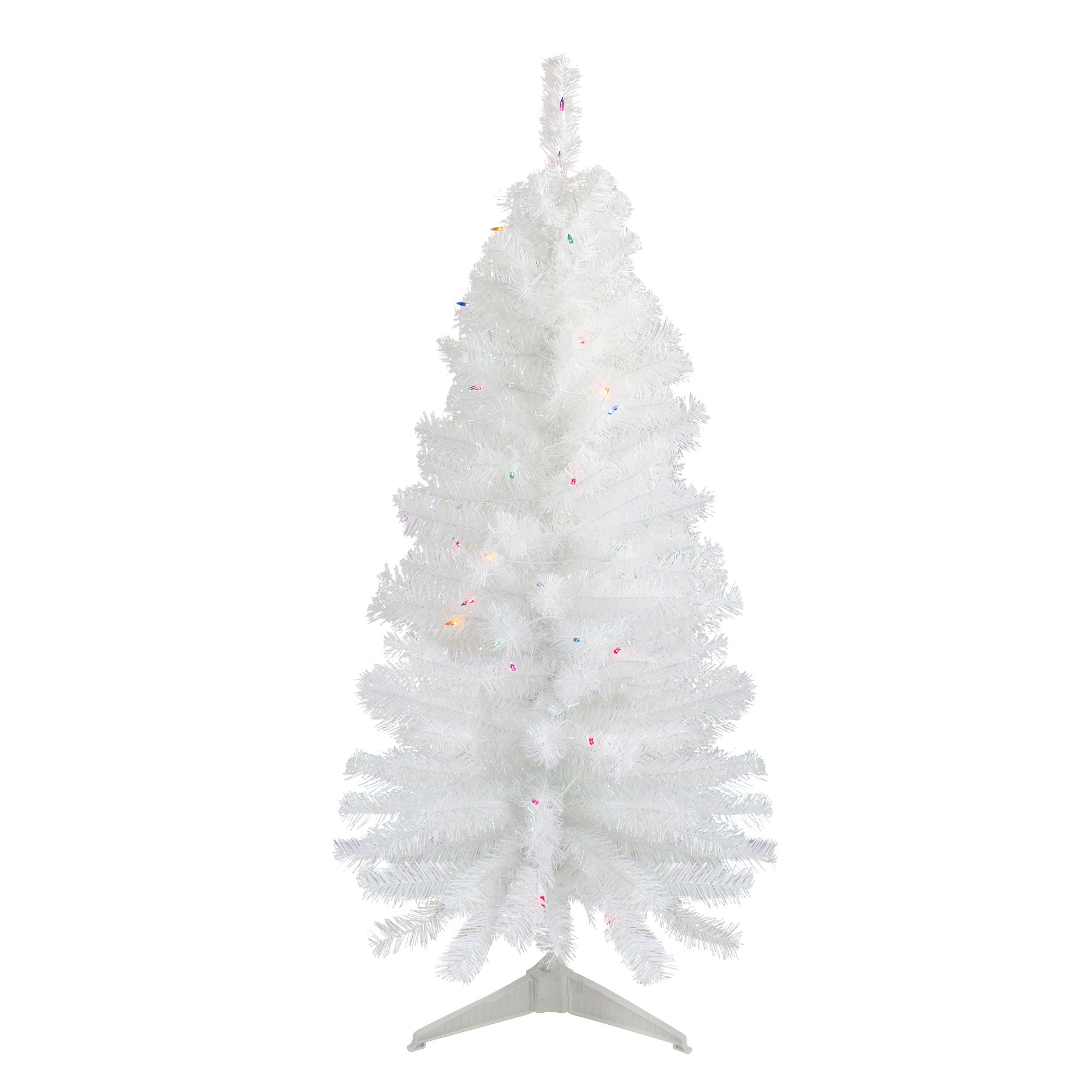 4\' Pre-Lit White Pine Slim Artificial Christmas Tree - Multi Lights - 4 Foot