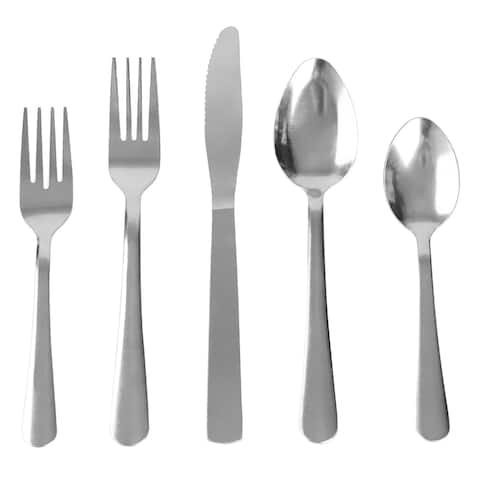 Home Basics Elle 20 Pieces Stainless Steel Flatware Set, Silver